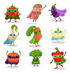 Cartoon flat characters set of superhero vector
