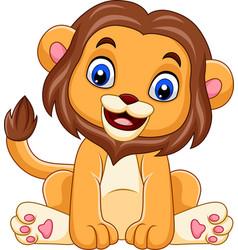 cartoon funny baby lion vector image