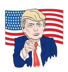 Cartoon portrait of donald trump tie points with vector