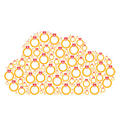 Cloud shape of ruby ring icons vector