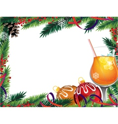 Cocktail and Christmas ornaments vector