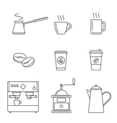 coffee line icons vector image