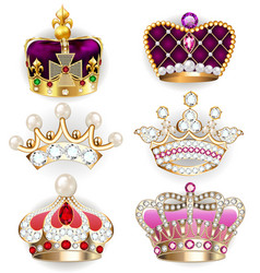 collection various golden crowns royal power vector image