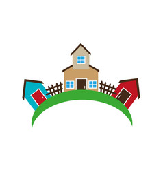 Colorful set collection farm and houses vector