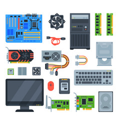 Computer accessories pc equipment vector