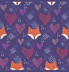 cute dark pattern with fox heads and hearts vector image