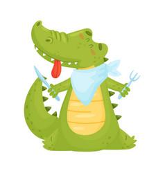 Cute green humanized crocodile is getting ready vector