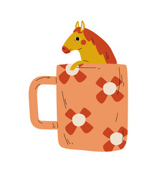 cute horse in teacup adorable little pony animal vector image