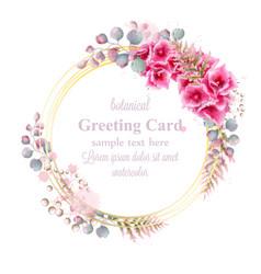delicate flowers watercolor wreath frame decor vector image
