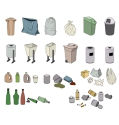Different kinds of waste and varios rabbish bins vector