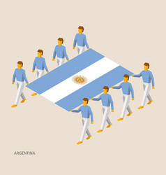 Eight people hold big flag vector