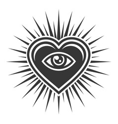 Eye inside heart sign masonic icon on white vector