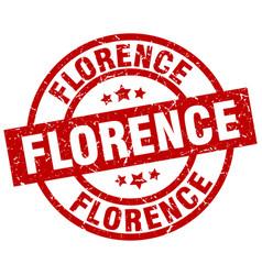 Florence red round grunge stamp vector