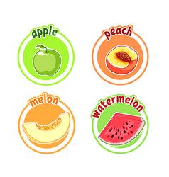 four stickers with different fruits apple peach vector image