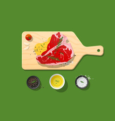 Fresh raw beef t-bone steak and spices vector