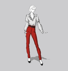 Girl in red jeans and blouse vector