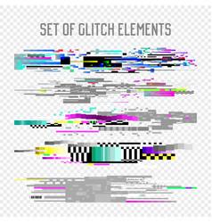 Glitch effect elements set tv distortion noise vector
