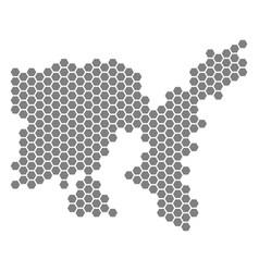 Gray hexagon limnos greek island map vector