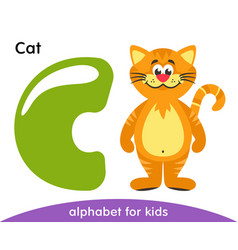 Green letter c and yellow cat vector