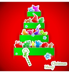 Green stripe Christmas paper tree vector image