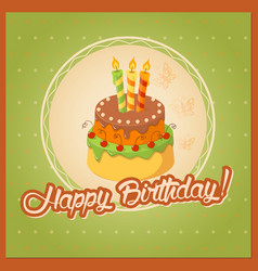 Green vintage birthday card with cake tier on vector