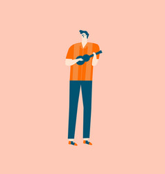 guitar player cartoon character in mid century vector image