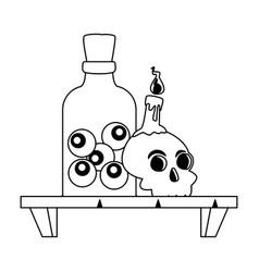Halloween head skull with eyes bottle in shelf vector