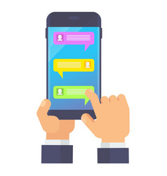 hand holding smartphone with messenger vector image