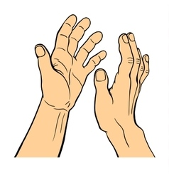 Hands applauding on white background vector