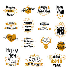 happy new year hand drawn emblems set vector image