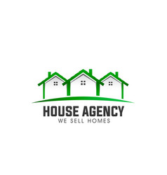 house real estate green logo vector image