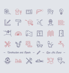 Icons repair building construction symbols home vector