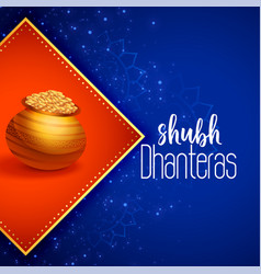 Indian happy dhanteras festival greeting vector
