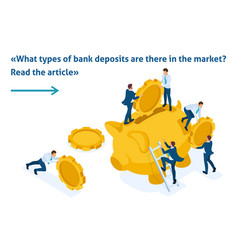 Isometric concept of investing in a bank deposit vector