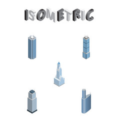 isometric skyscraper set of apartment skyscraper vector image
