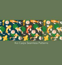 koi carp fishes swim with lotus seamless pattern vector image