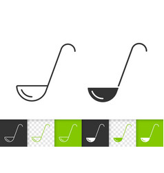 ladle simple black line icon vector image