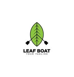Leaf boat logo design template vector