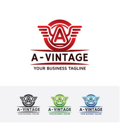 logo of vintage wings with letter a vector image