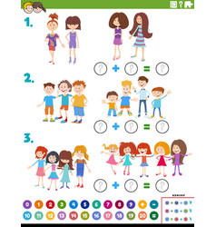 Maths addition educational task with children vector