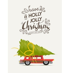 Merry christmas and new year retro car design vector