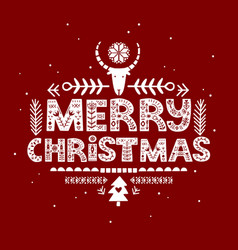 merry christmas lettering in scandinavian style vector image
