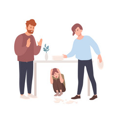 mother and father brawling or quarreling vector image