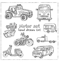 Motor hand drawn doodle set isolated elements on vector