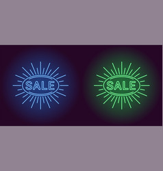 neon icon of blue and green sale badge vector image