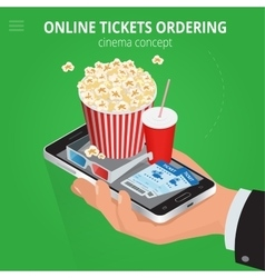 Online cinema tickets ordering Concept order food vector image