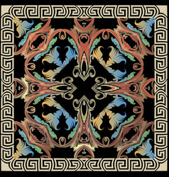 Ornamental colorful baroque pattern greek vector