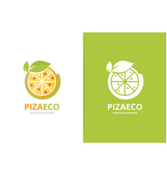 pizza and leaf logo combination food and vector image