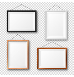 Realistic black white and wooden picture frames vector