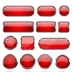 red glass buttons with metal frame collection of vector image